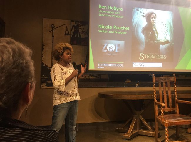 "Nicole Pouchet speaks at the ""Writing Social Commentary Through Genre Film"" event in Seattle."