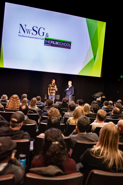 Some 200 screenwriters, filmmakers and actors packed the AMC Pacific Place Theater to enjoy the live recording of the Scriptnotes podcast.