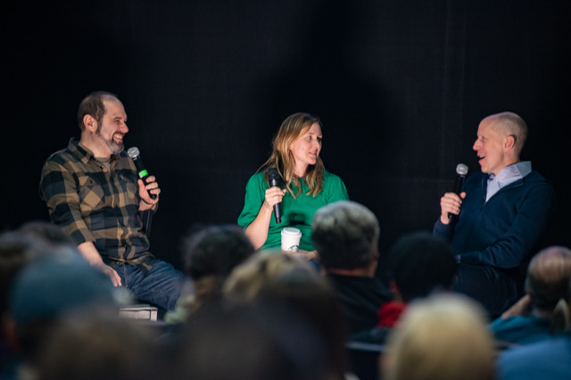 Craig Mazin, Emily Zulauf, and John August on stage in Seattle for a live recording of the Scriptnotes podcast.